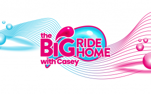 Image with text saying The Big Ride Home with Casey