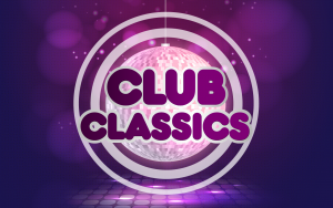 Image displaying the words Club Classics overlayed on a disco ball on a purple background